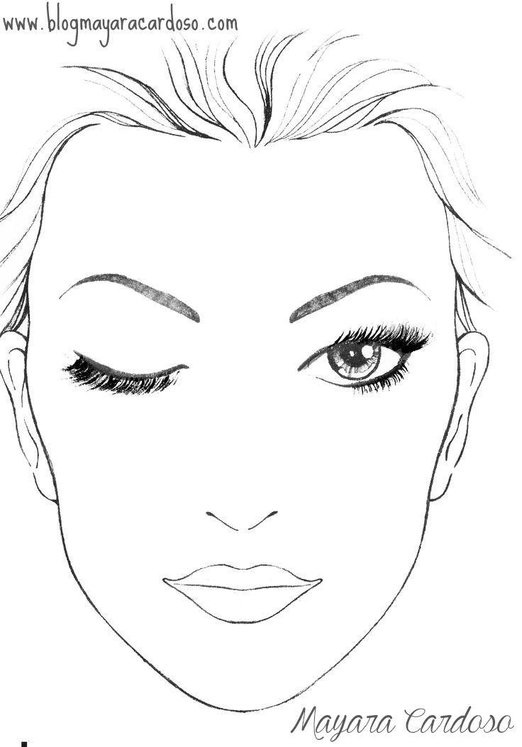 Blank Makeup Face Chart Template Croqui De Maquiagem Rosto Para