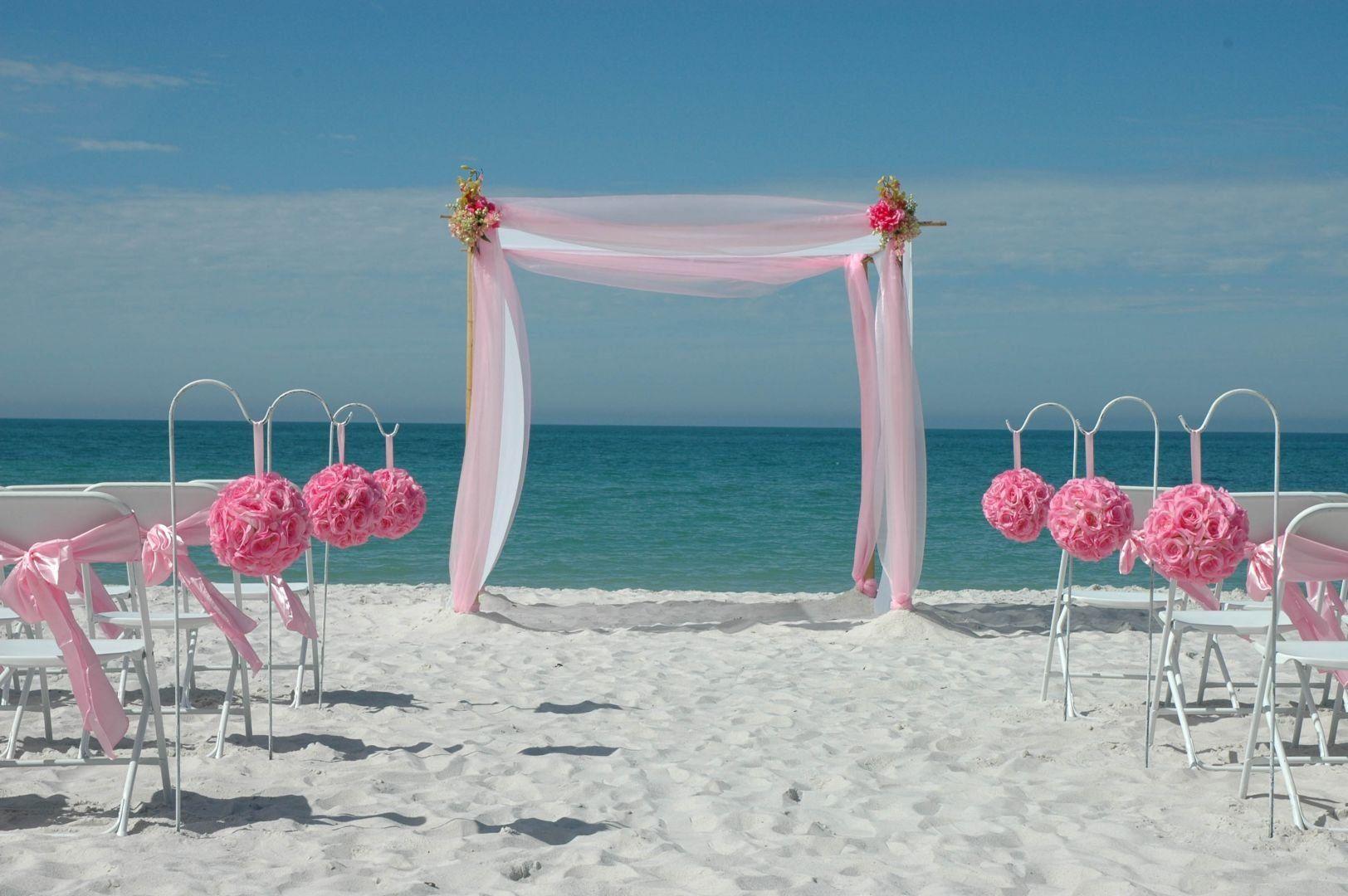 Pink Beach Decor In 2020 Florida Beach Wedding Beach Wedding Pink Beach Wedding Decorations