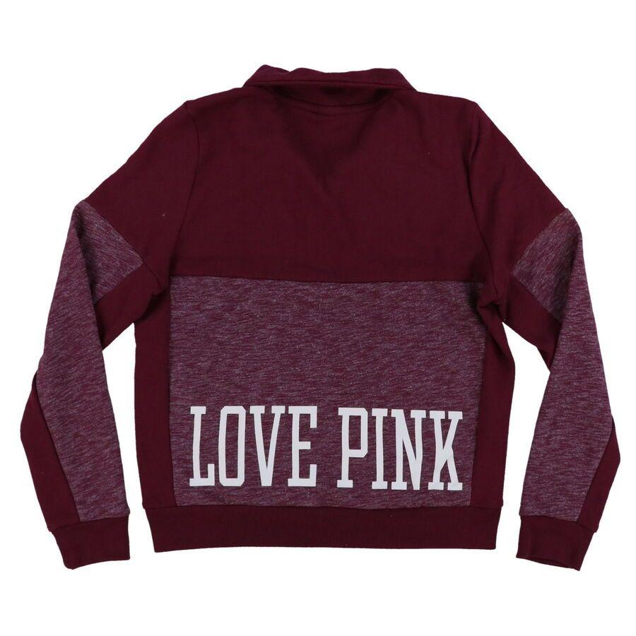 Victoria/'s Secret Pink Sweatshirt Quarter Zip Pullover Graphic Long Sleeve New