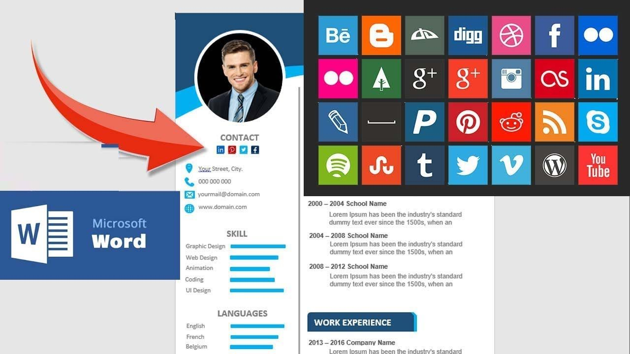 How to insert social media icons symbols in your resume