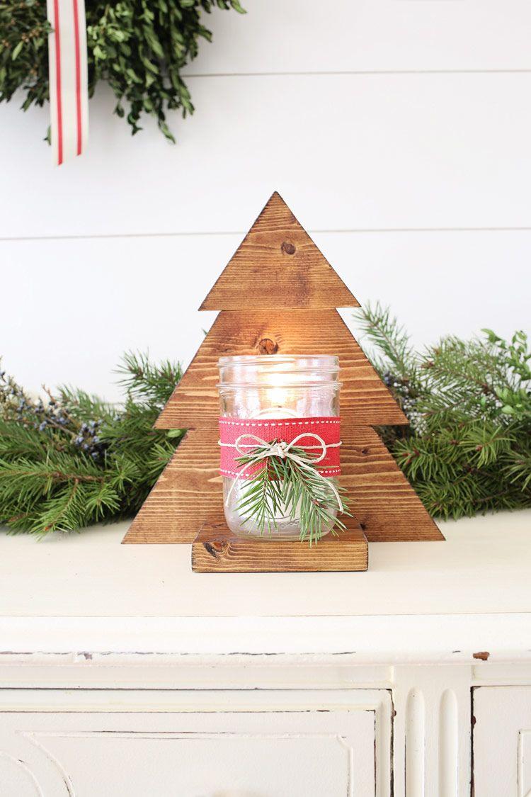 DIY Wood Christmas Tree Mason Jar Sconce | Wood christmas tree, Christmas diy wood, Wooden ...