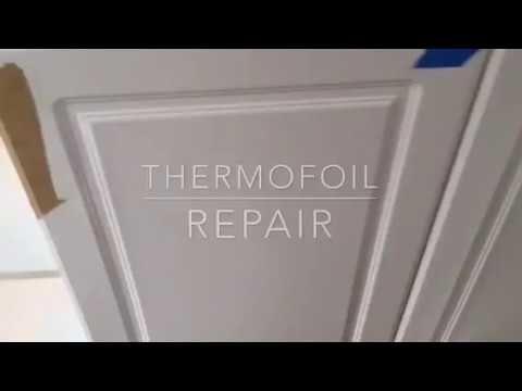Thermofoil Cabinet Door Repair - YouTube | Vinyl wrap ...