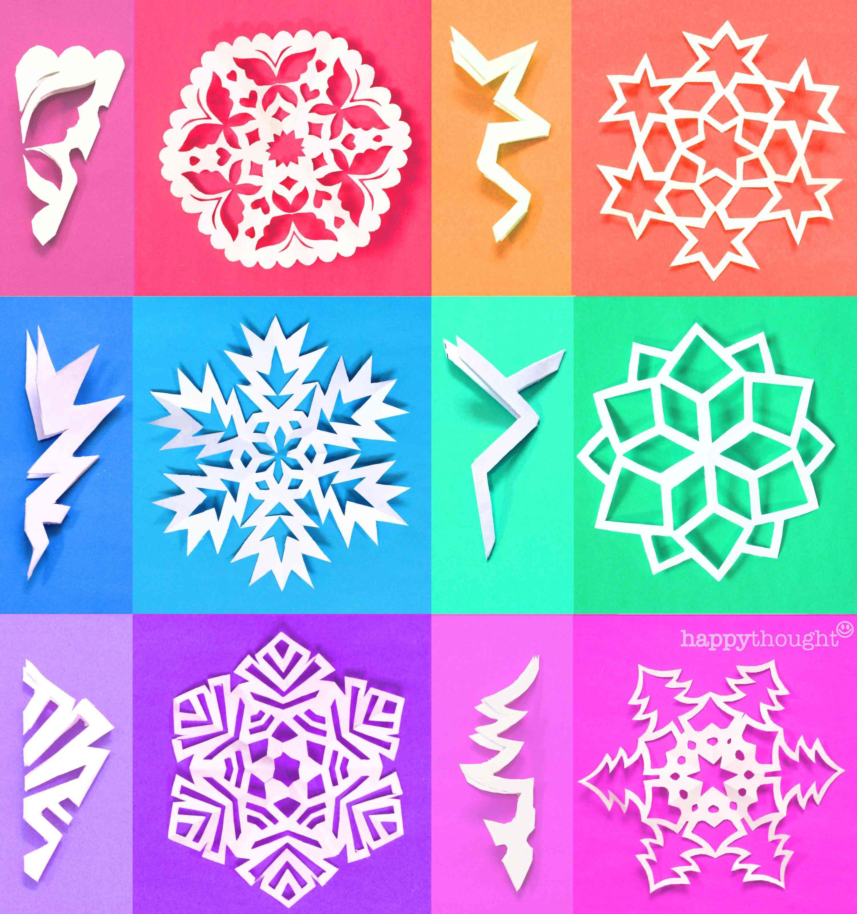 DIY PAPER SNOWFLAKES - PRINTABLE TEMPLATES FROM HAPPYTHOUGHT.CO.UK