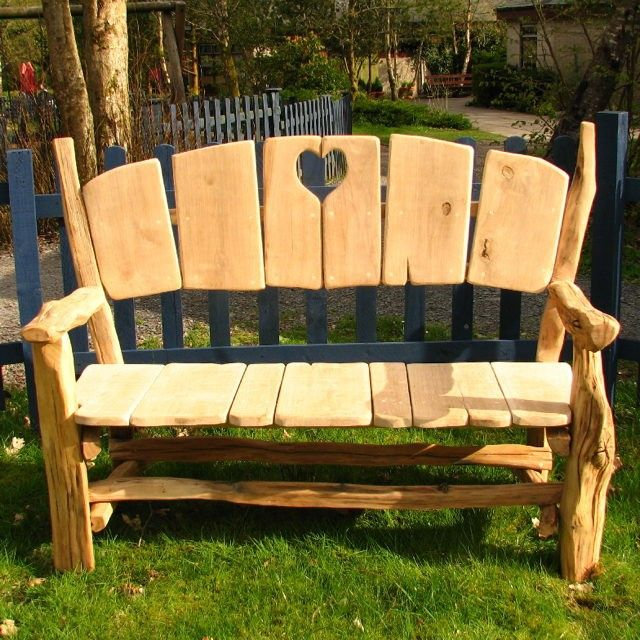 oak heart garden park bench fairy benches tables and. Black Bedroom Furniture Sets. Home Design Ideas