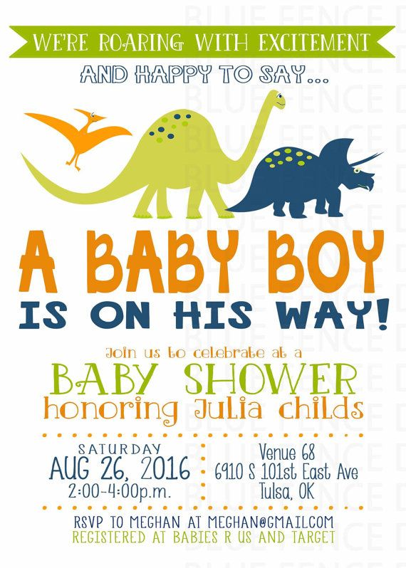 image about Free Printable Dinosaur Baby Shower Invitations known as Dinosaur little one boy shower invites, prehistoric, orange