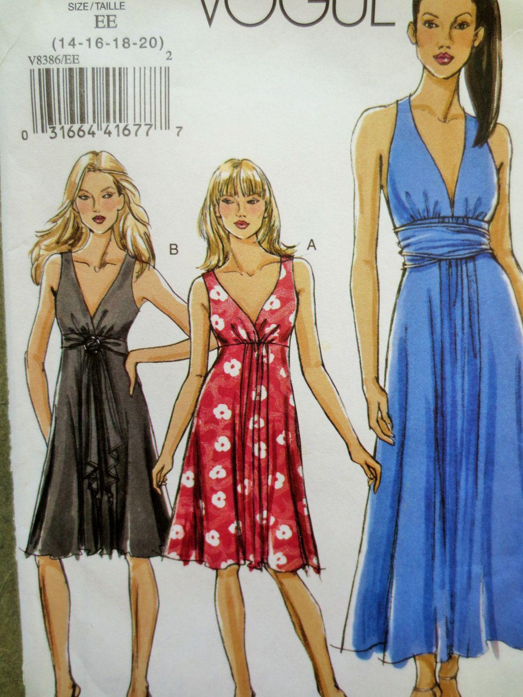 Vogue 8386 Sewing Pattern, Dress Pattern, Sleeveless Dress, Plunging ...
