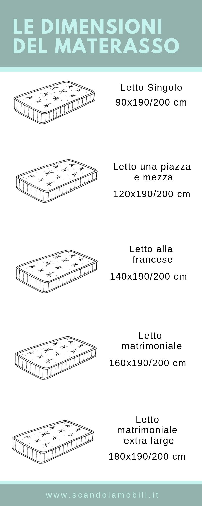 Misure Materassi Standard.Misure Materassi Per Camera E Cameretta Materasso Letto Alla
