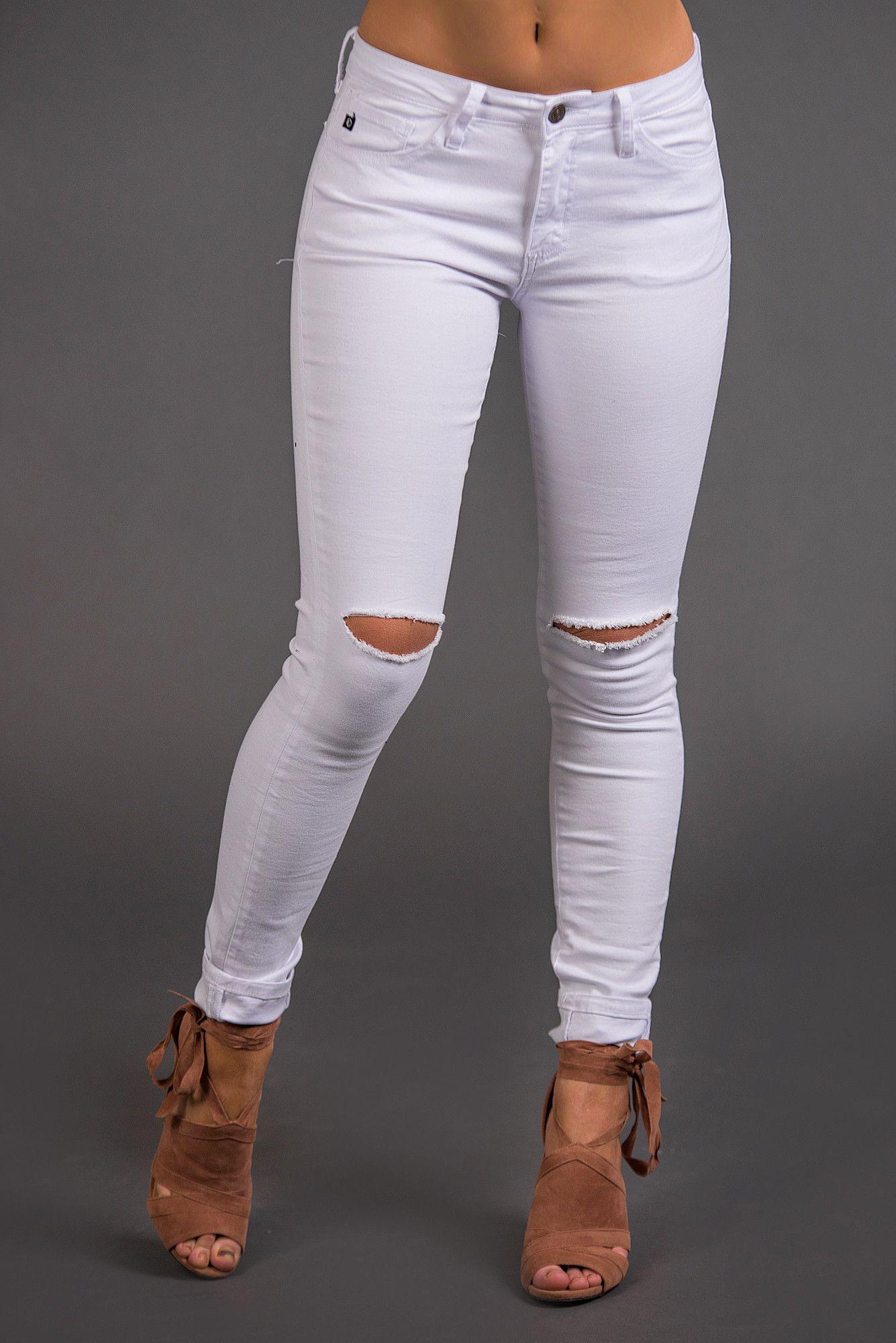 f8223828beb Fifth Avenue Lightly Distressed Skinny KanCan Jeans (White) - NanaMacs.com  - 3