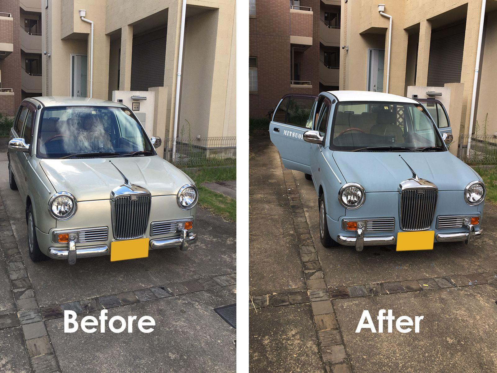光岡 Rayを世田谷ベースカラーで刷毛塗り全塗装 世田谷ベース ミラジーノ 車 塗装