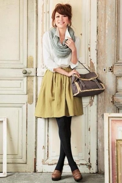 07928024ebf0f1 Mustard Skirts, Brown Shoes, Periwinkle Scarves, Black Stockings, White  Tops |