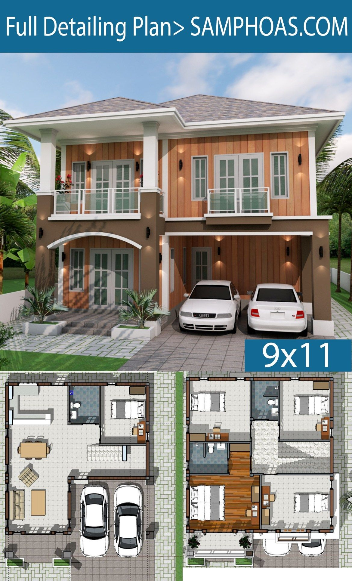 House Design Ideas 9x11 5m With 3 Bedrooms