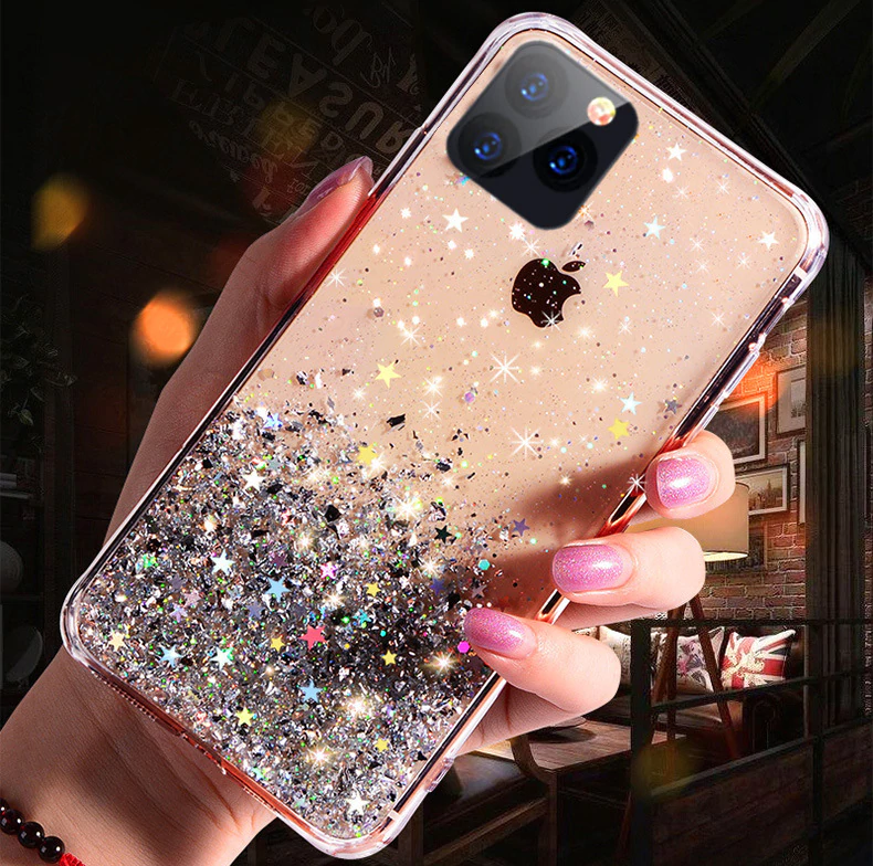 Bling Glitter Phone Case For Iphone 11 Pro X Xs Max Xr Soft Silicon Cover For Iphone 7 8 6 6s Plus Glitter Iphone Case Glitter Phone Cases Pretty Phone Cases