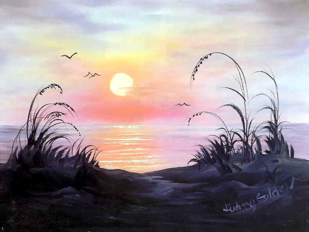 Bob Ross landscape painting art Sunset over sea with foreground beach - this undoubtedly reflects Bob's new experience in Florida as this is where he lived the latter part of his life = MReno