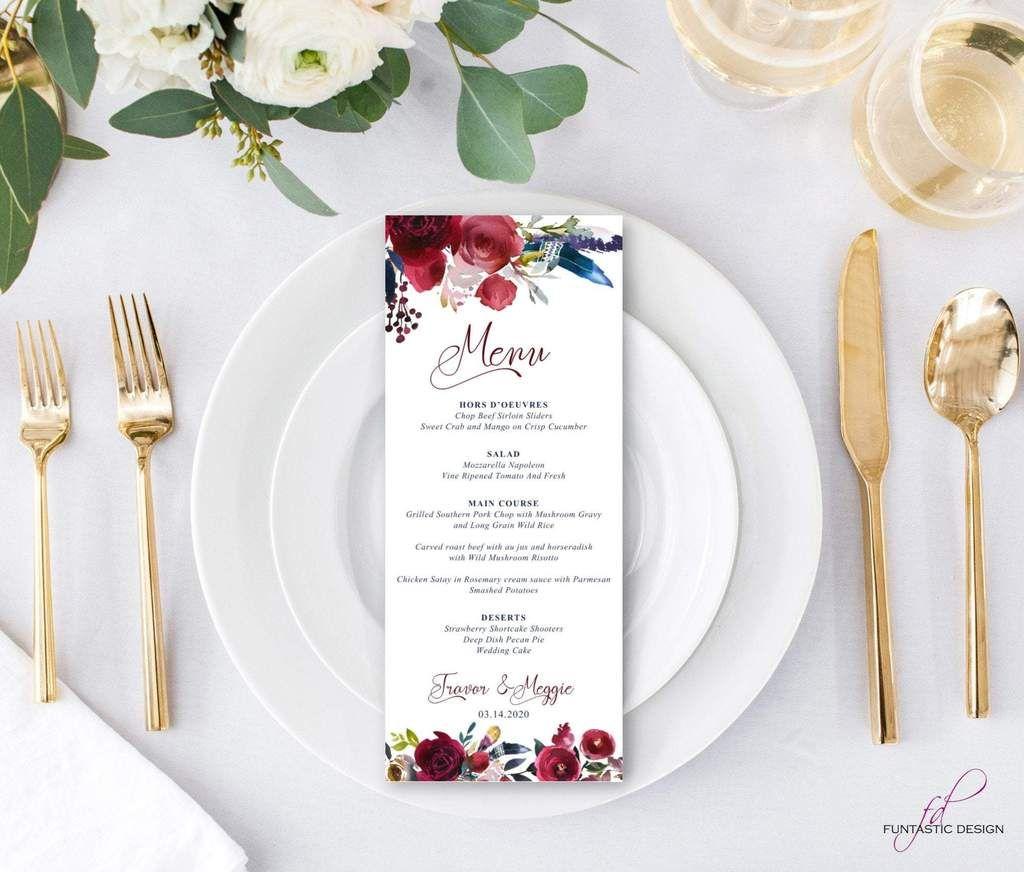 Boho Menus Printed Wedding Menu Cards Boho Wedding Menus Dinner Menu Floral Wedding Menu Pr Printable Wedding Menu Wedding Menu Cards Wedding Menu Template