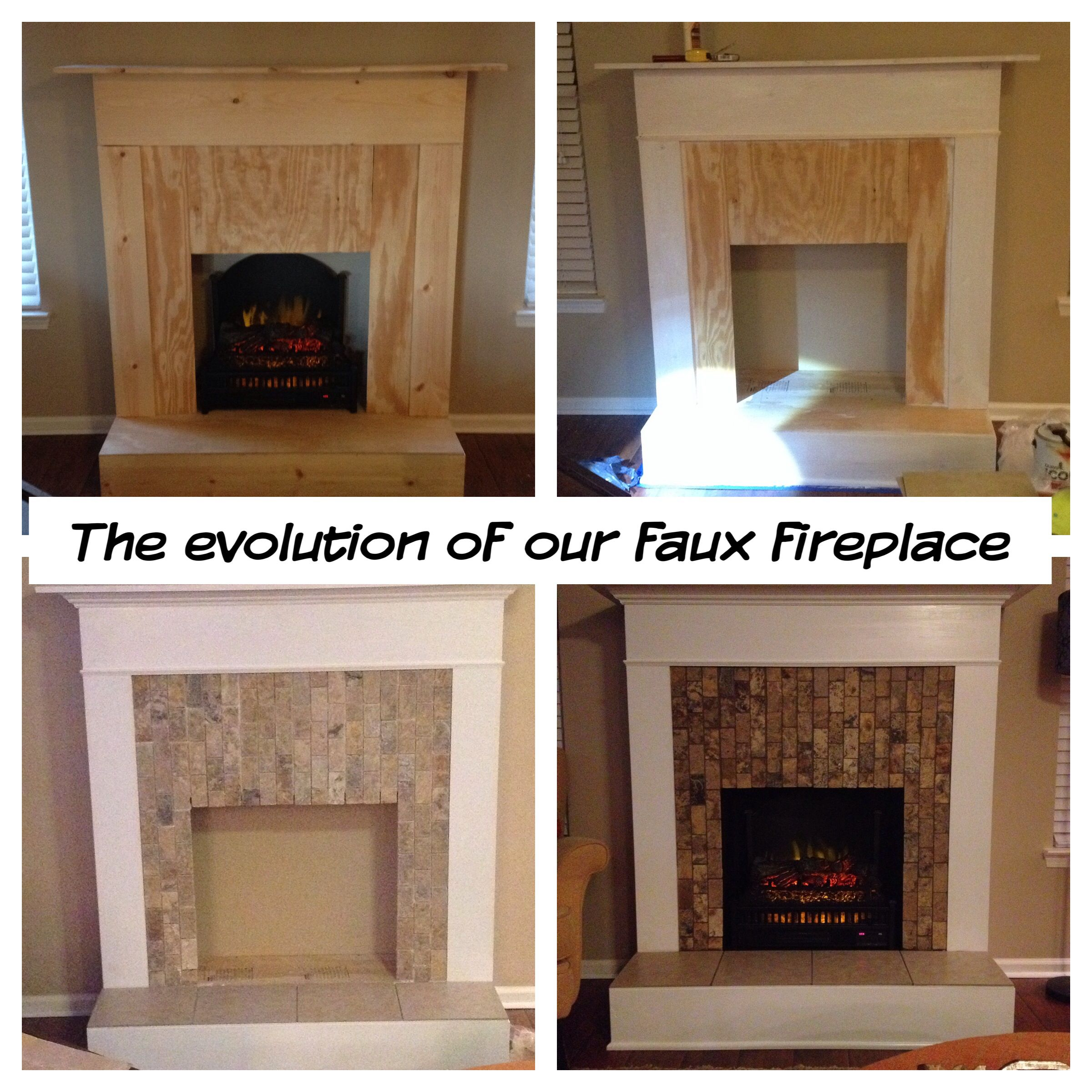 faux fireplace wood trim tile and an electric log
