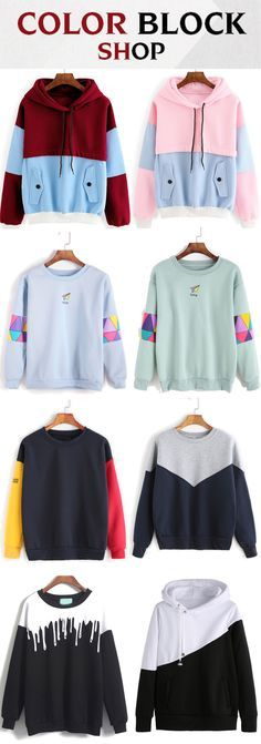 Cool Color Block Sweatshirts 2016 from romwe.com