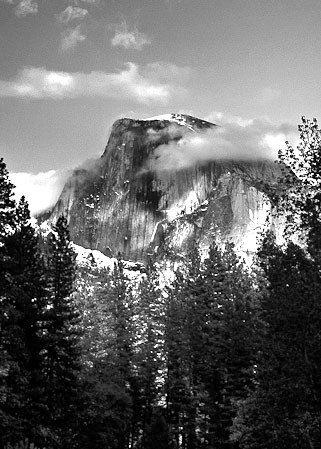 Metallic photography  Yosemite Half Dome black and white