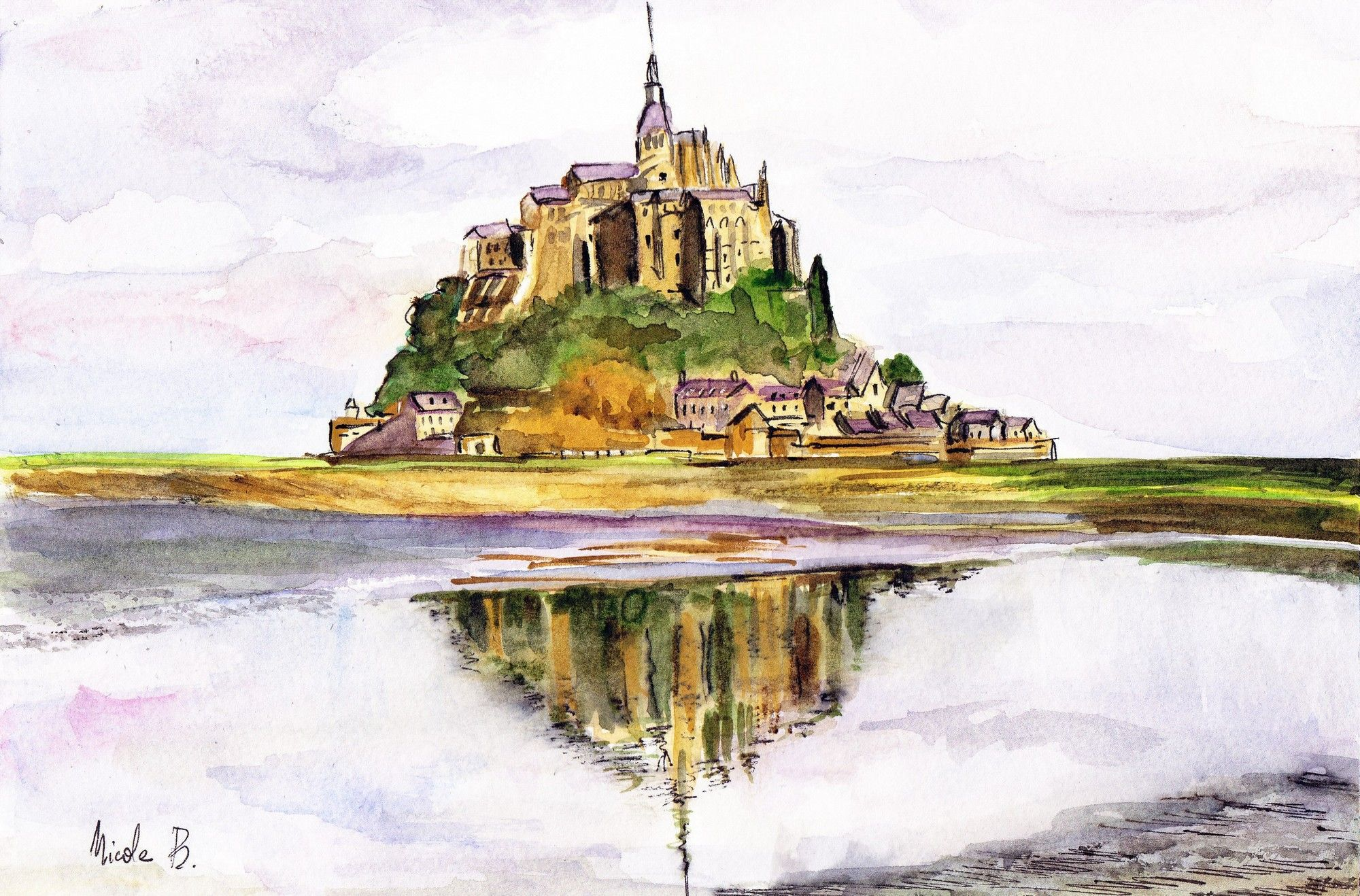 Le Mont Saint Michel Landscape Paintings Nature Paintings