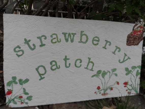 Yard Sign Garden Decor Strawberry Patch Large Outdoor Garden Art