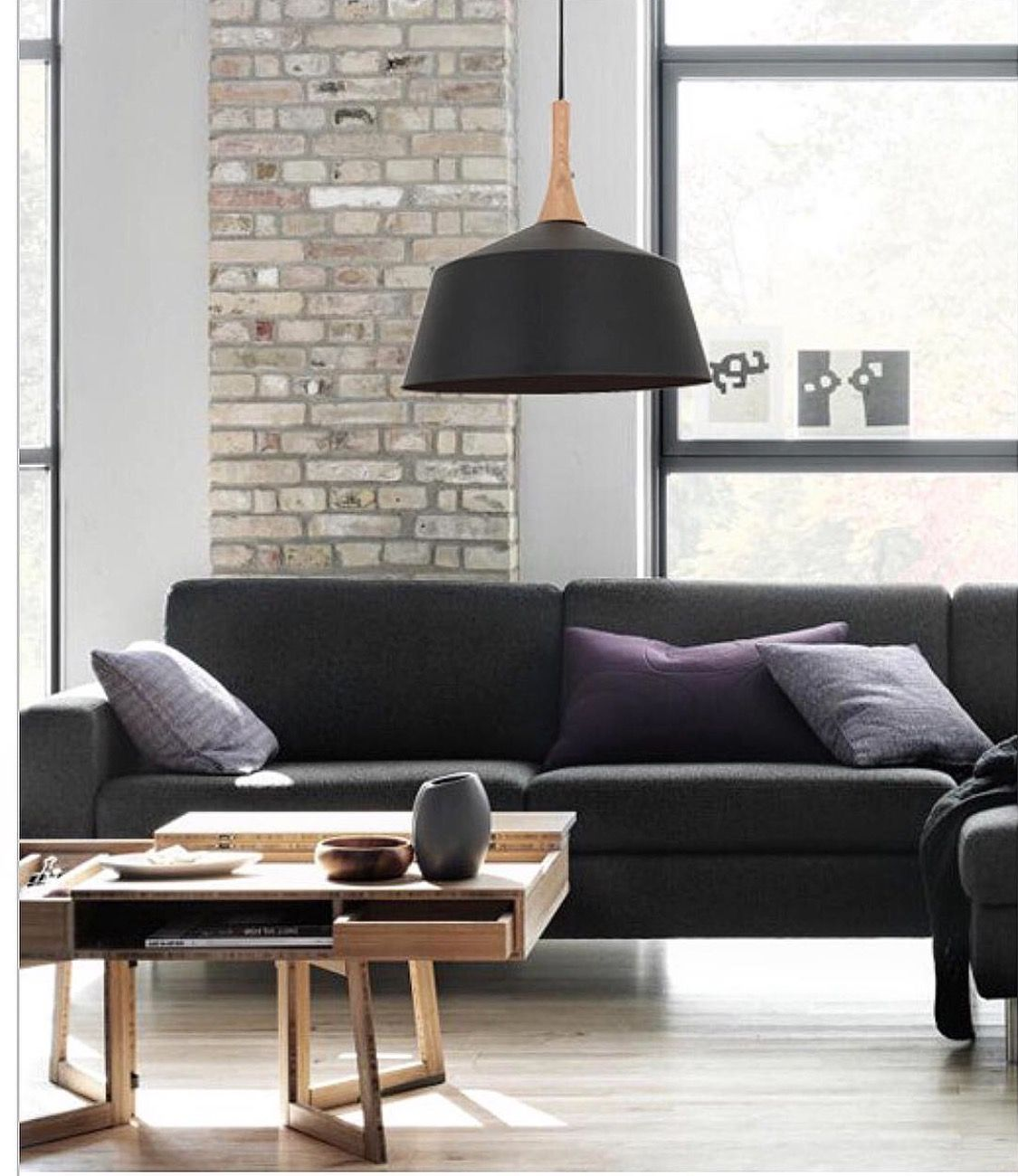 Nordic pendant light is available in black and white in