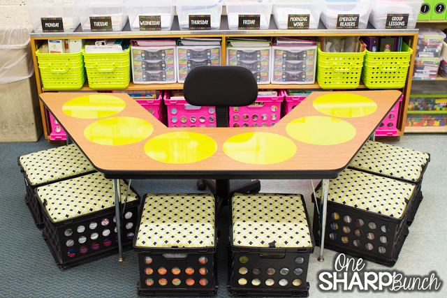 Check out this classroom reveal with the brightly colored classroom ...