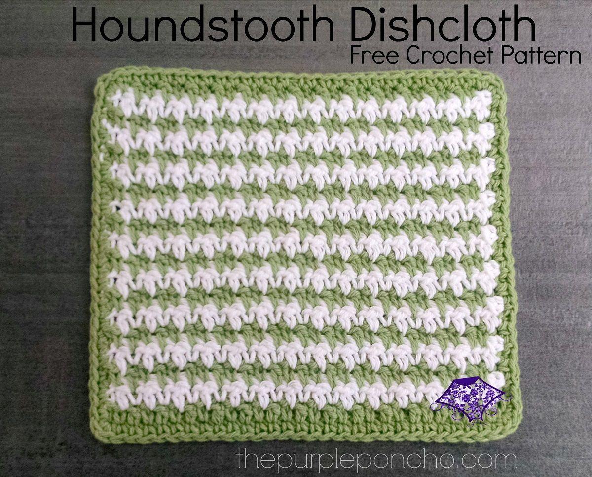 Houndstooth Dishcloth – Free Crochet Pattern | Crochet dishcloth ...