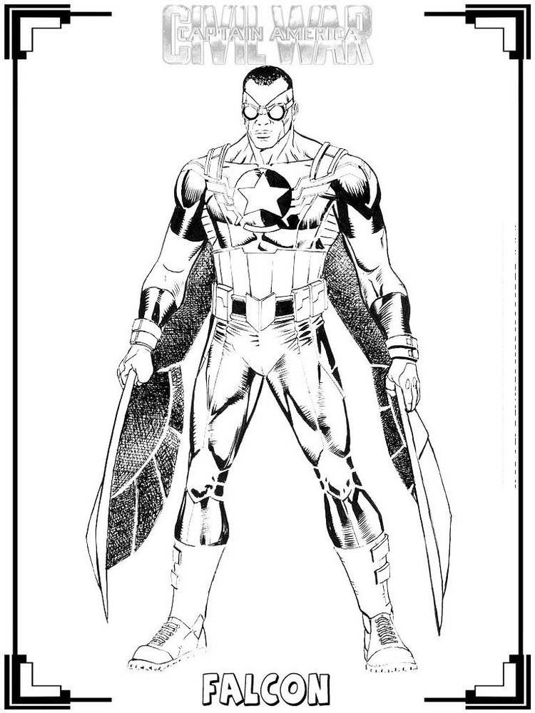 The Falcon Sam In 2020 Superhero Coloring Pages Civil War Marvel Coloring Pages