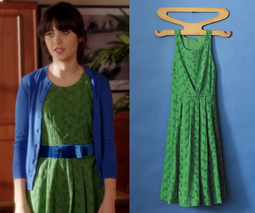 "Jess's sweet grass green fit and flare dress with a tennis racket eyelet pattern from New Girl episode ""Fancyman Part 1"" http://dresslikenewgirl.com/post/56691427453/this-new-girl-season-1-dress-is-in-fairly"