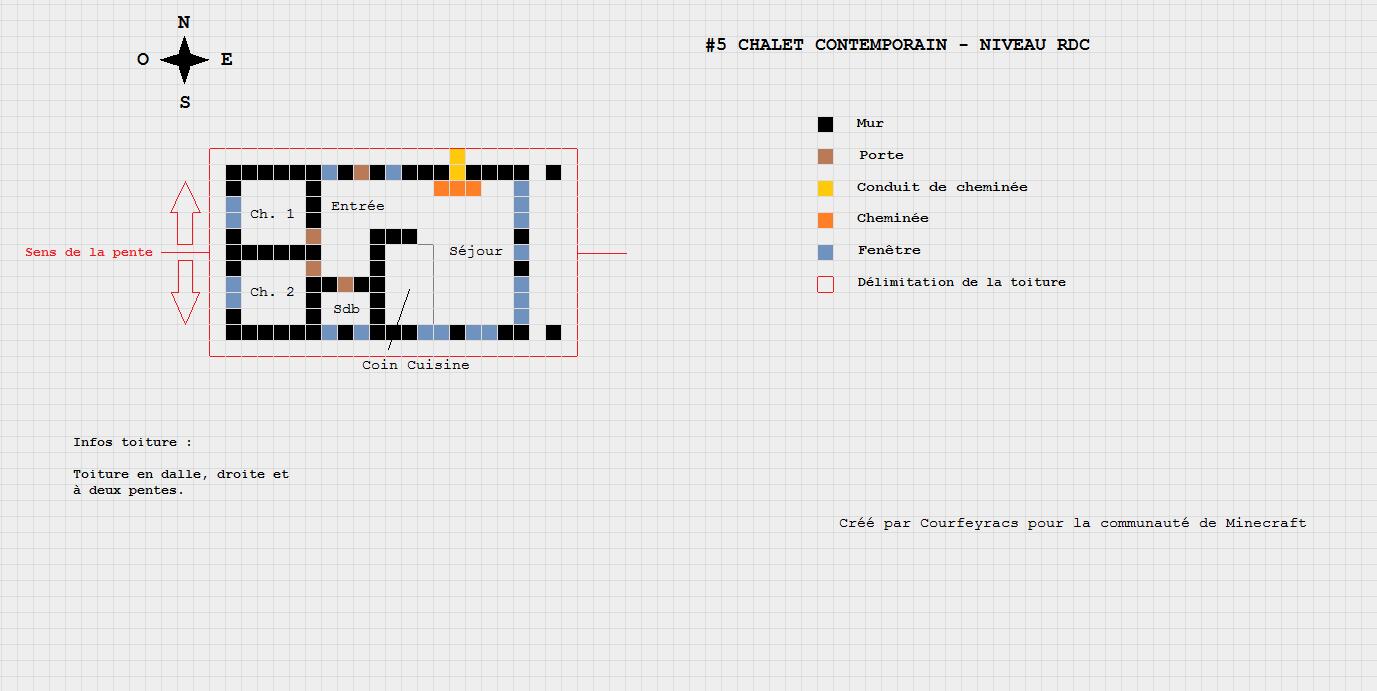 Plan d'un chalet contemporain | Petite maison minecraft, Maison minecraft