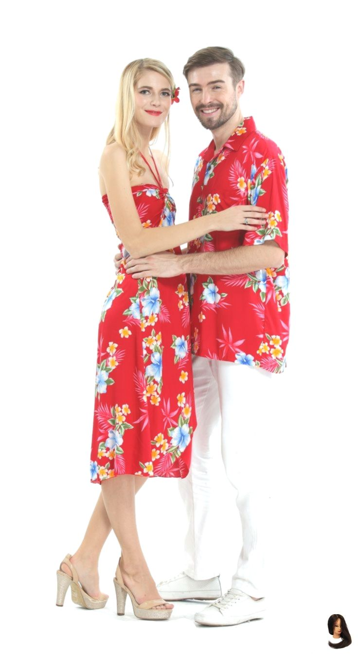 Couple Outfit red Couple Matching Hawaiian Luau Cruise Party Outfit Shirt Dress in Hibiscus Red        Couple Matching Hawaiian Luau Cruise Party Outfit Shirt Dress in Hibiscus Red
