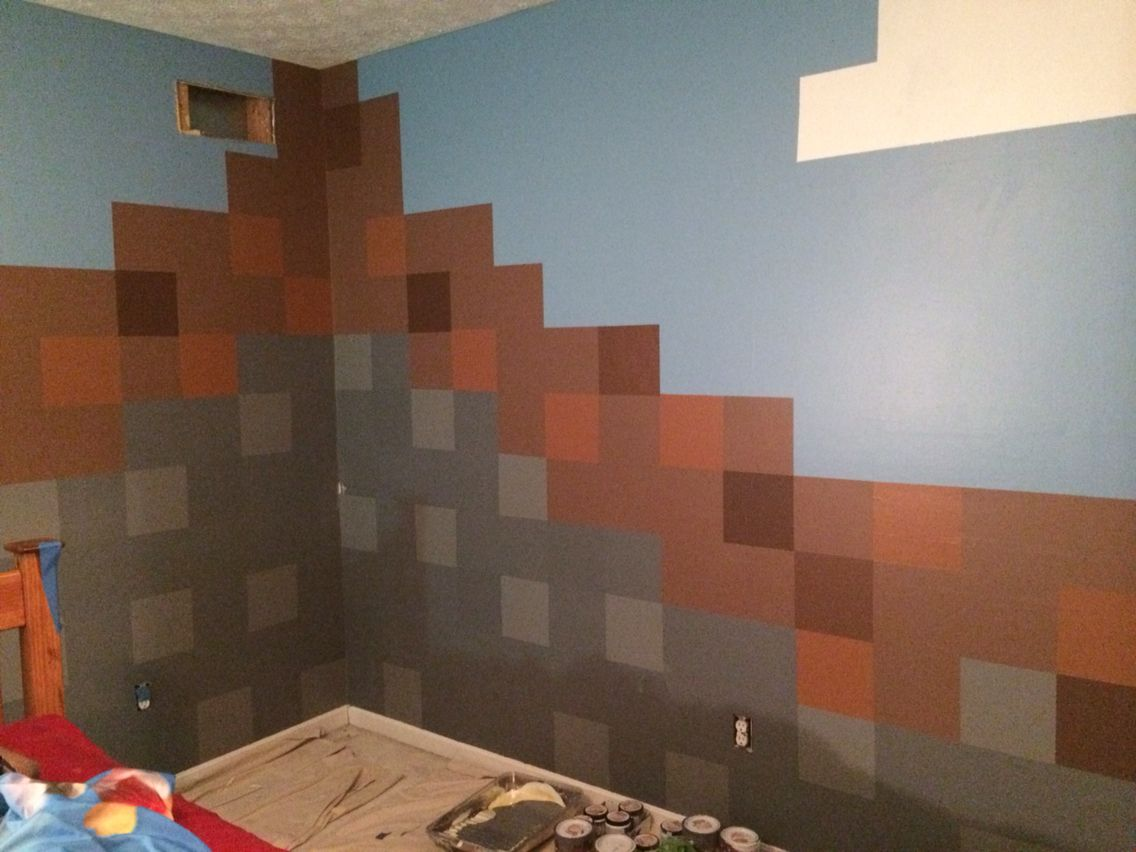 Creating A Minecraft Room. Day 5. Finished The Trees. Used Glaze And Sponge  On Parts Of The Tree. Painted A Third Color On Dirt Blocks.