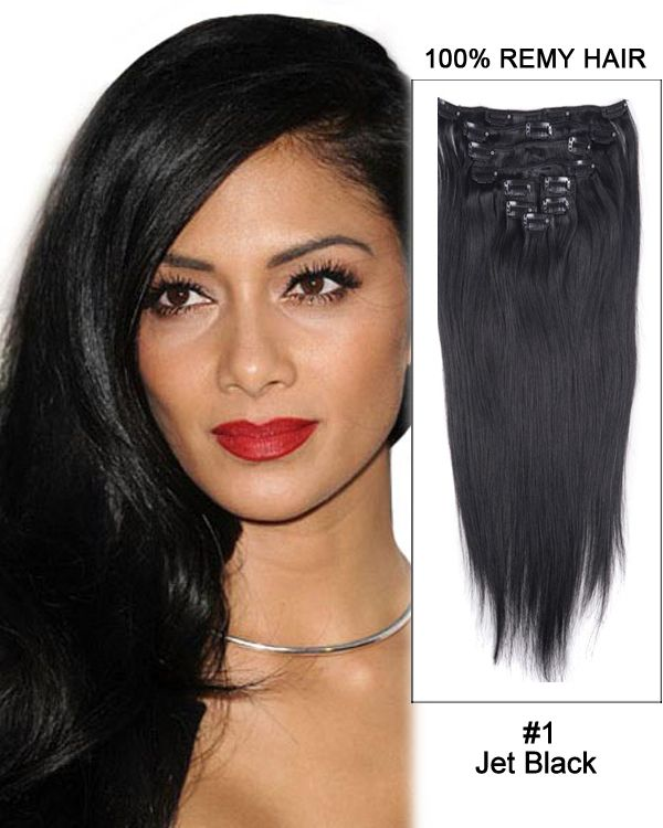 18 9pcs 1 Jet Black Straight Clip In Remy Human Hair Extensions