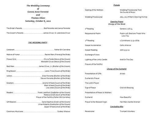 Catholic Wedding Program Template Free - http://www.valery ...