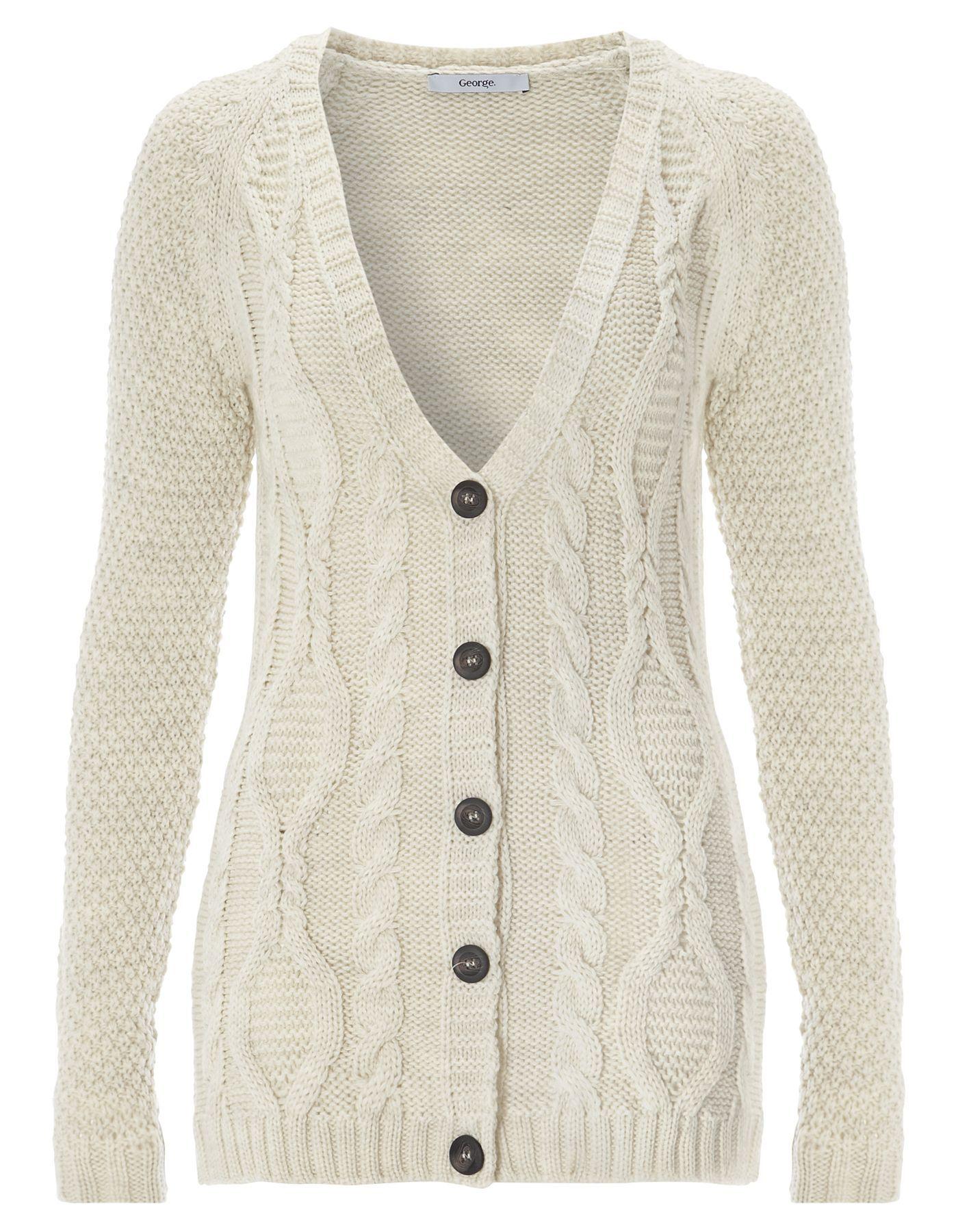 Cable Knit Boyfriend Cardigan - Cream | Women | George at ASDA ...