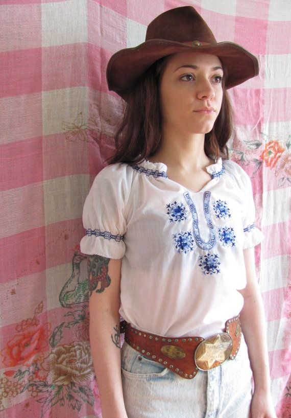 Vintage 70s White Cotton Embroidered Greek by SweeetLeafVintage, $29.99