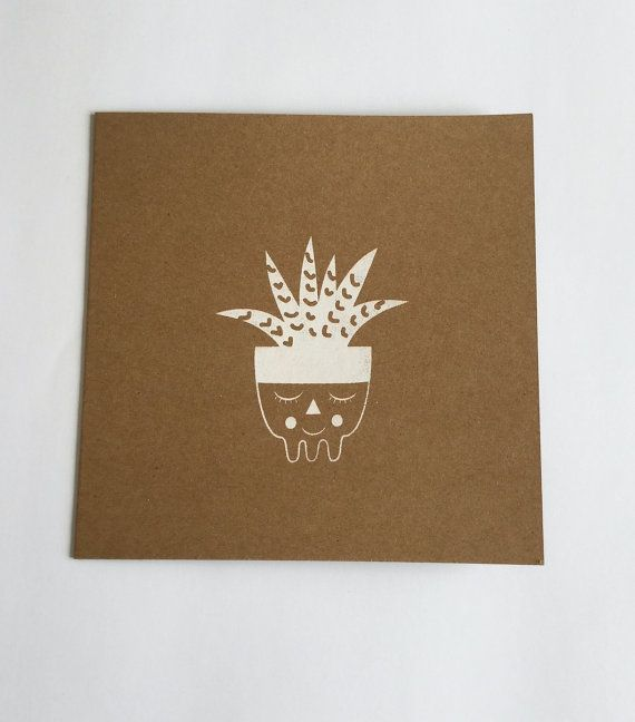 Cactus double card and envelope by Petitbigorneau on Etsy