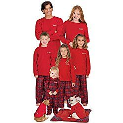 76c4b031e3 Red Cotton Flannel Stewart Plaid Matching Pajamas for the Whole Family  (including dog)