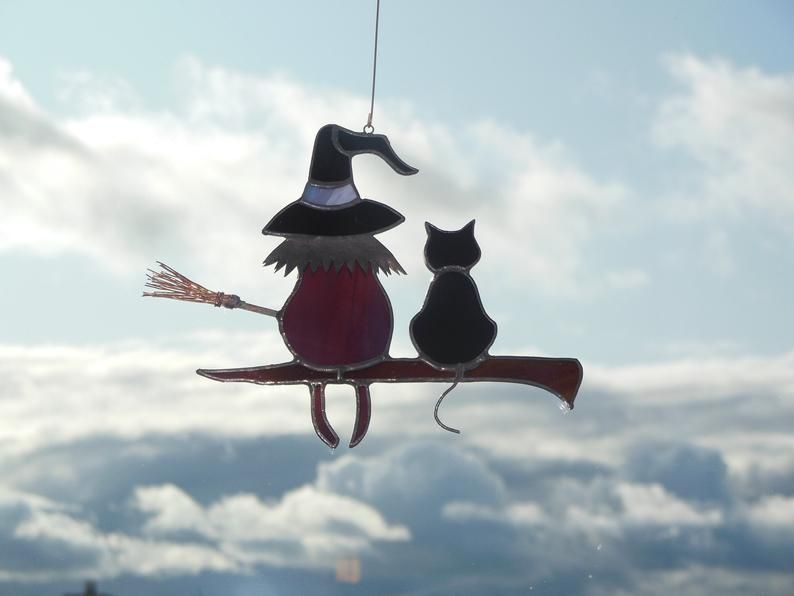 Handmade HALLOWEEN Black Cat Sun Catcher