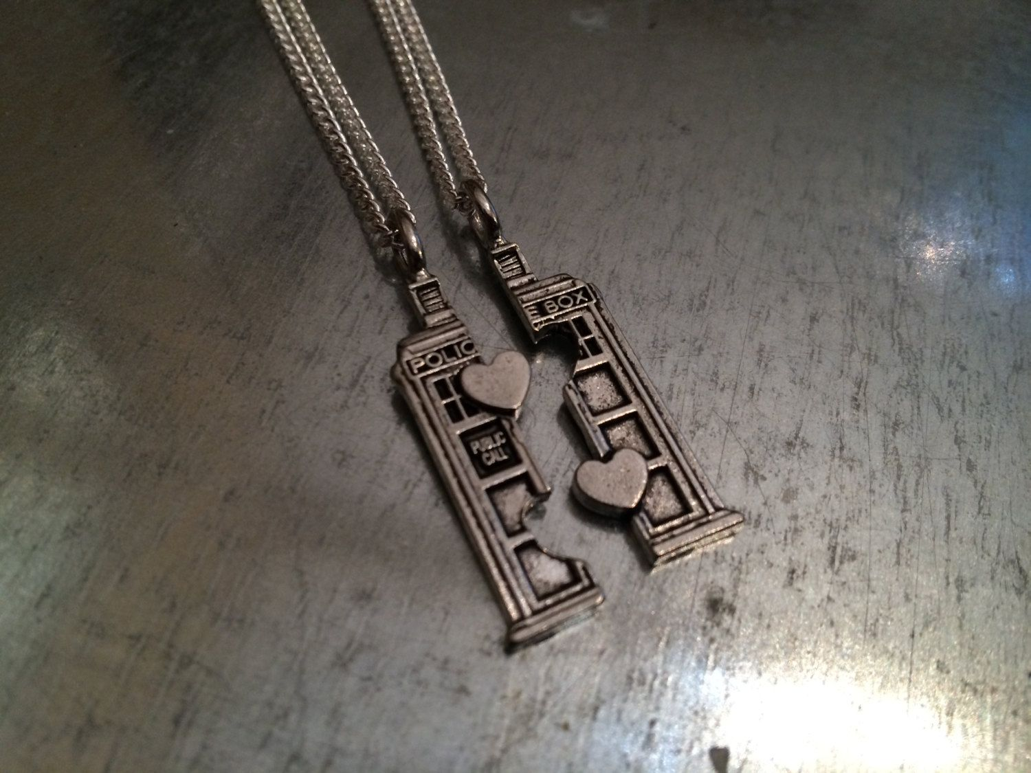 Phone booth double heart friendship necklace by urbanindustries