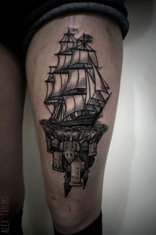 Alex Tabuns, blackwork tattoo