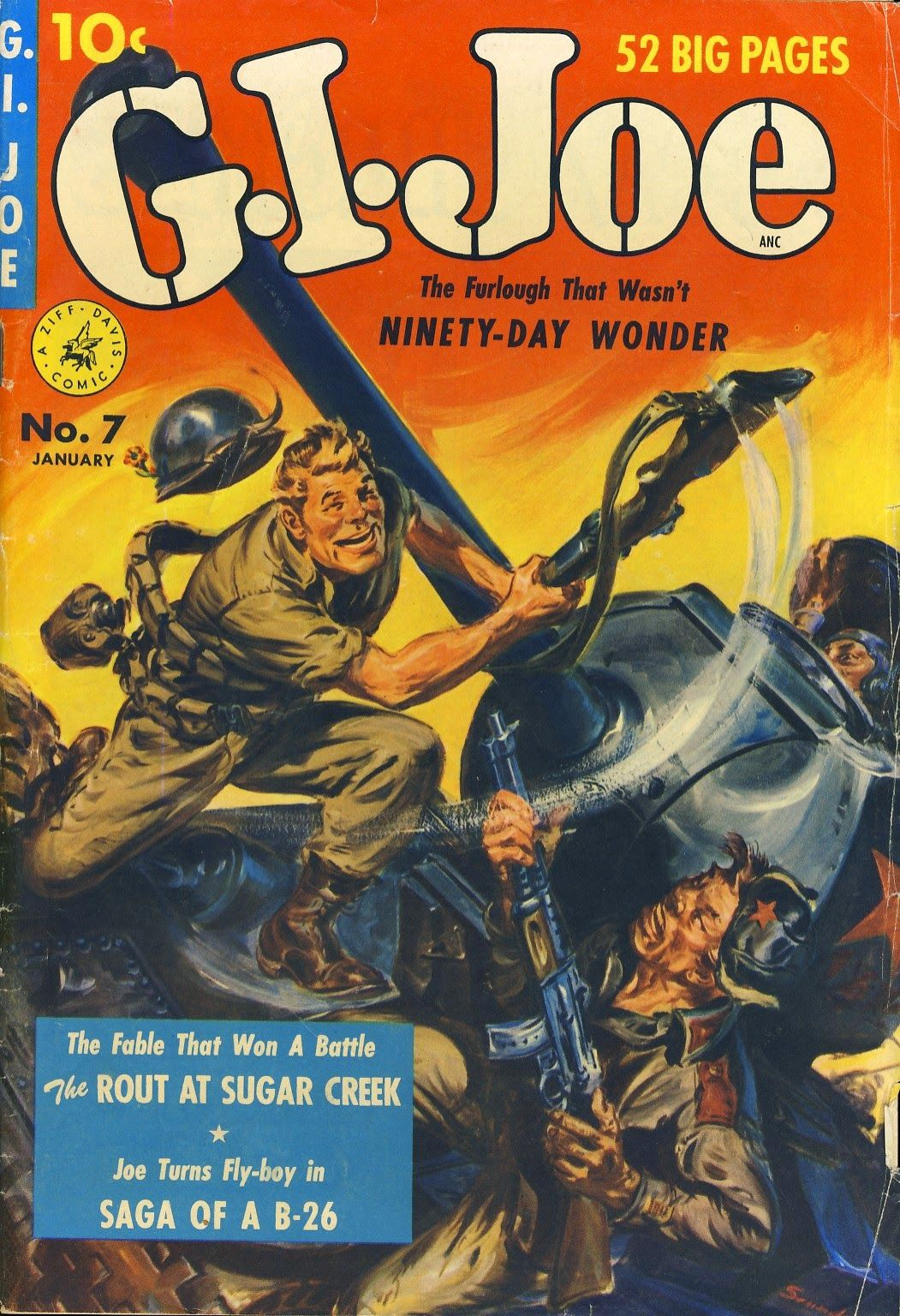 """Splash page for """"Saga of a B-26,"""" from G.I. Joe, no. 7, January 1952; cover art by Norman Saunders."""