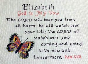Cross Stitch Elizabeth with a name meaning and a Bible verse