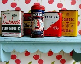 """I am ALL about this """"cherries"""" wallpaper [and I don't even like wallpaper!] Robin's Egg Blue paint turns an ordinary wooden wall shelf into an adorable retro kitchen accent piece."""