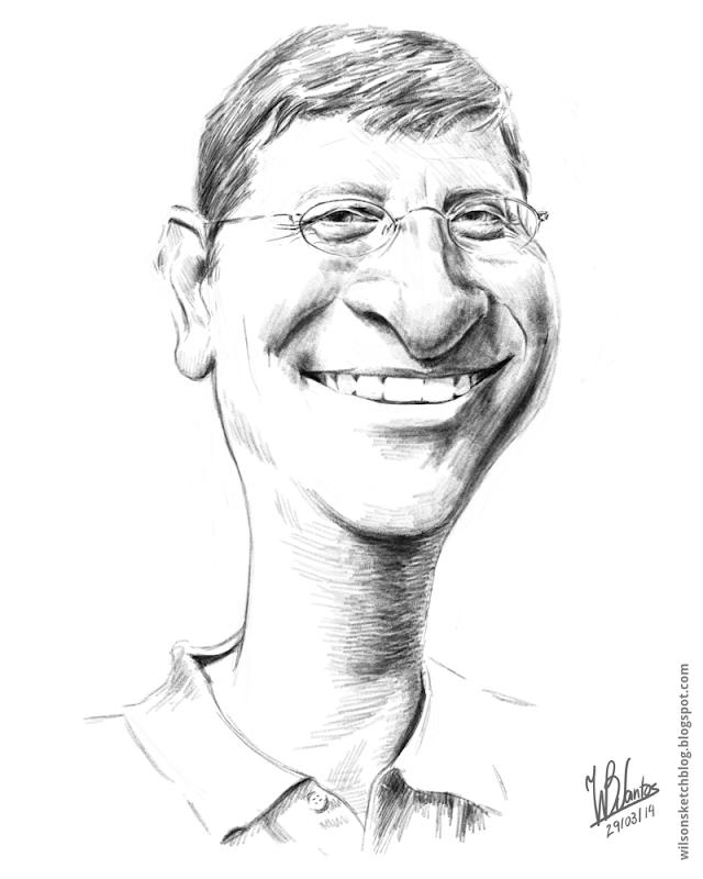 Mahatma Gandhi Ink Drawing Caricature Cartoon Sketches Bill Gates
