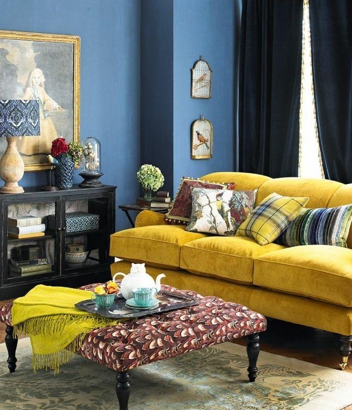 ▷ 1001 + idées créer une déco en bleu et jaune conviviale | Banquettes