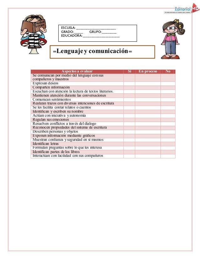 Evaluacion intermedia en preescolar | lenguaje y comunicacion ...