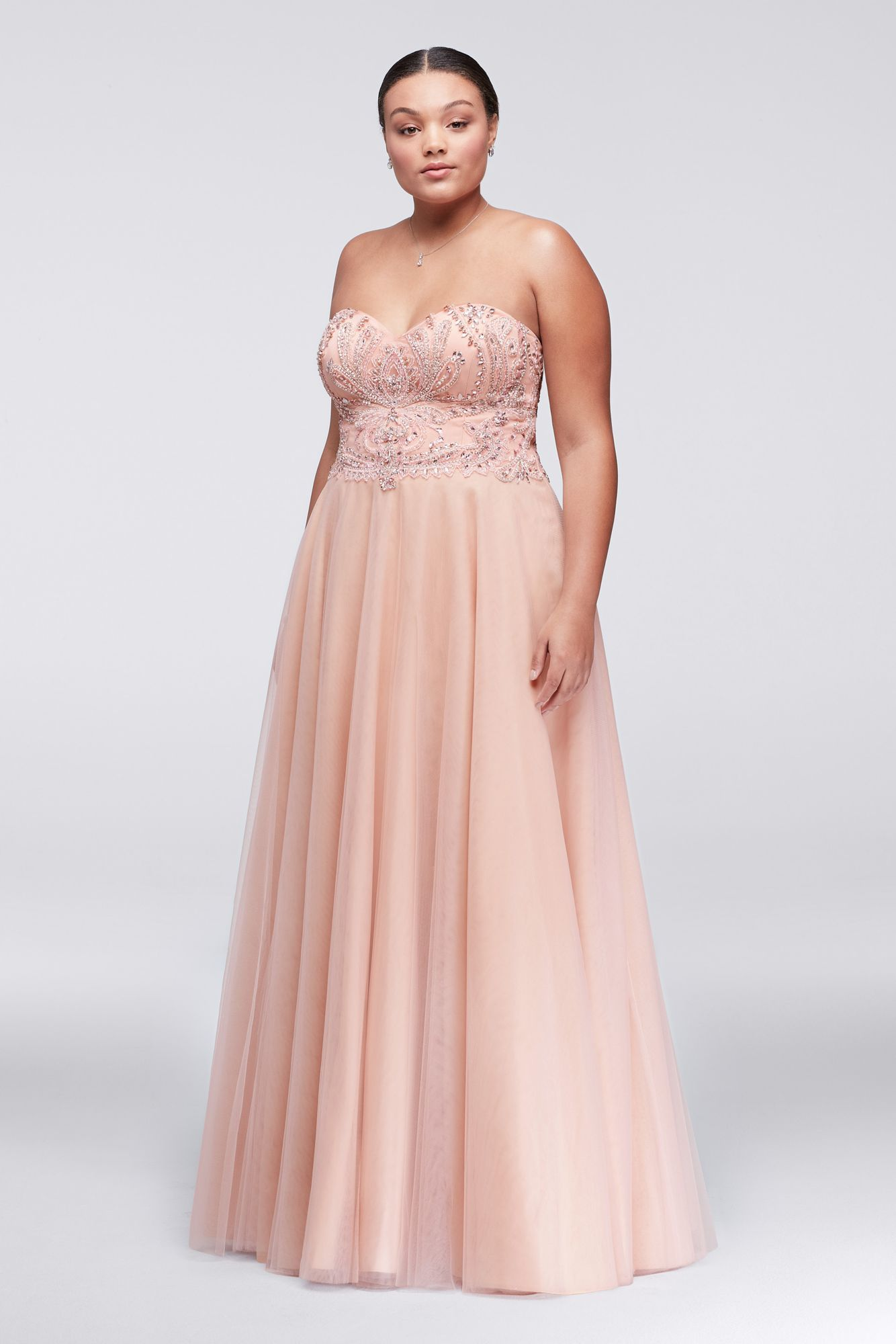 Plus Size Long Strapless 1711P2845W A-line Tulle Prom Gown with ...