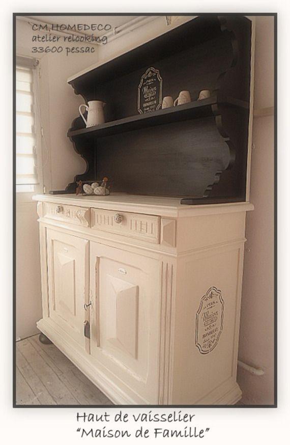 haut de buffet vaisselier relooké 1930  - meuble en bois repeint