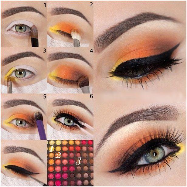 Yellow And Orange Eye Makeup Tutorial Orange Eye Makeup Orange
