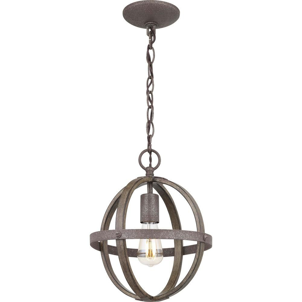 Progress Lighting Keowee 1 Light Artisan Iron Mini Pendant With Distressed Elm Wood Accents P500179 148 The Home Depot Farmhouse Lighting Mini Pendant Progress Lighting